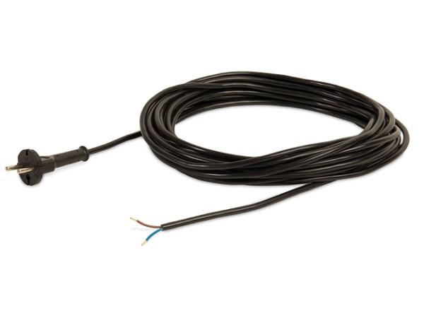 Kabel für Sauger, 15 Meter / 2 x 1,0 mm² / Stecker angespritzt, schwarz