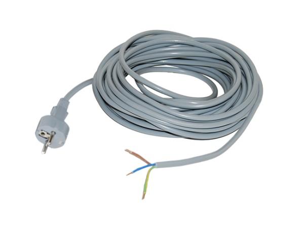 Kabel für Sauger, 15 Meter / 3 x 1,0 mm² / Stecker angespritzt, grau