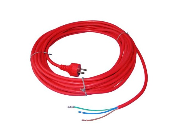 Kabel, 10 Meter / 3 x 1,5 mm² / Stecker angespritzt, Farbe rot